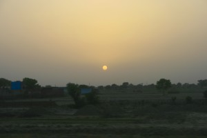 A hazy sunset from the train