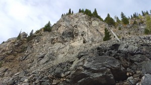 The old KVR grade hanging off the edge of the canyon